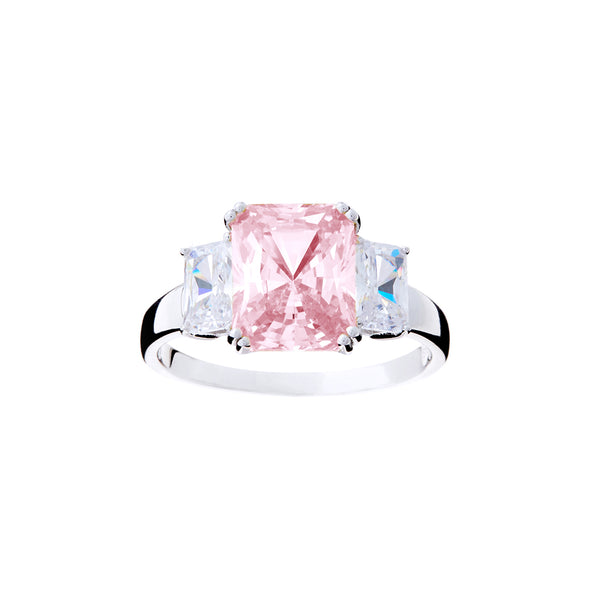 R2020- Lite Pink & cz dress ring