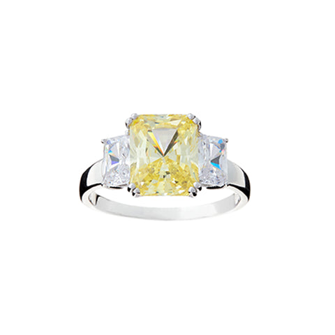 R2020-Y - Canary yellow & cz dress ring