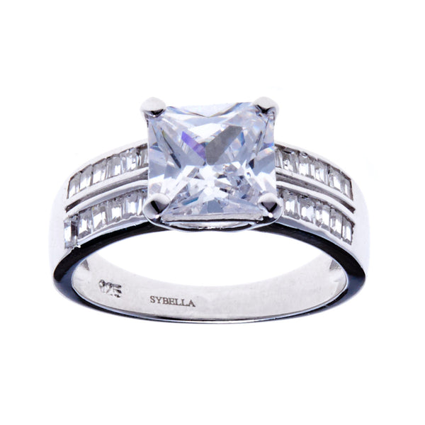 925 sterling silver, rhodium plate square cubic zirconia dress ring - R2027