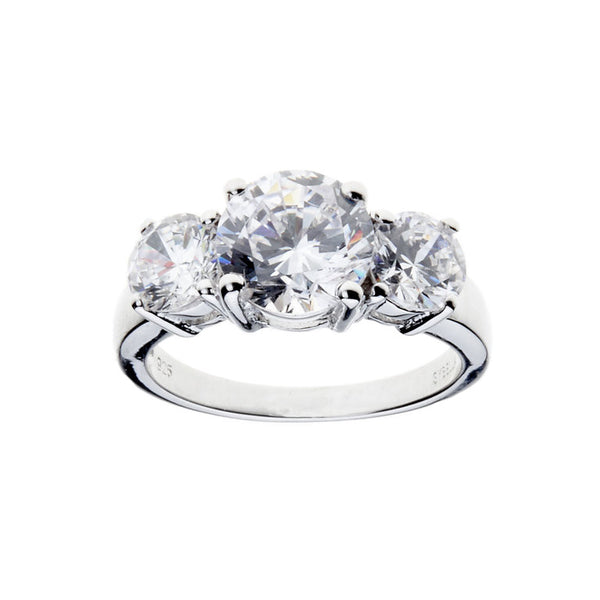 Sterling silver, rhodium plate 3 stone cubic zirconia ring - R2547