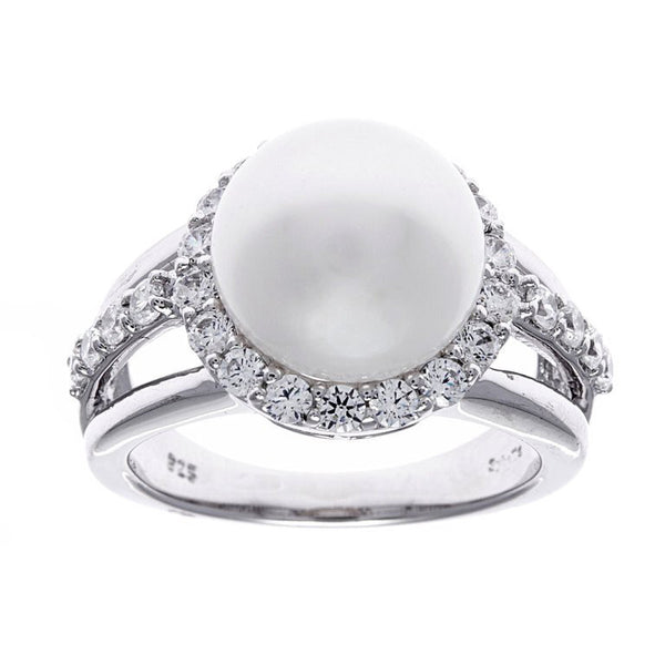 Sterling silver, rhodium plate & 12mm freshwater pearl & cubic zirconia dress ring - R299