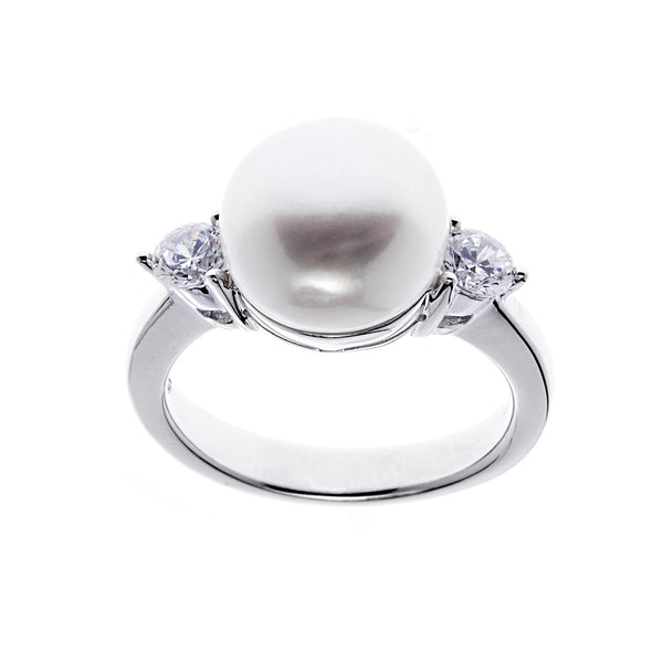925 sterling silver, rhodium plate white freshwater pearl ring - R5153