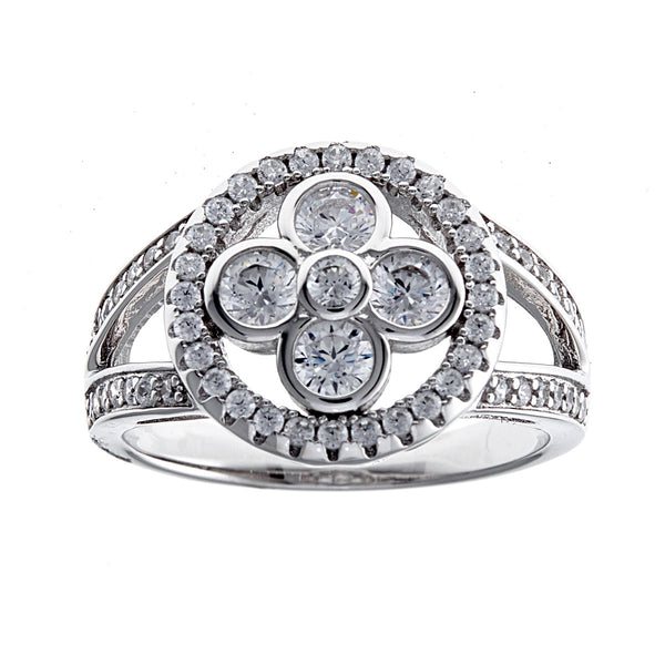 Silver cubic zirconia flower dress ring- R5211
