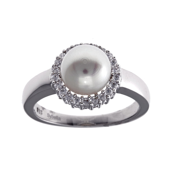 Silver and cubic zirconia pearl ring- R6187