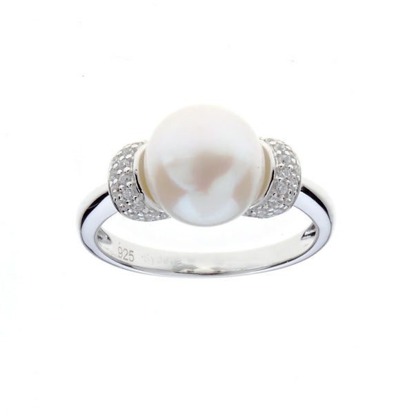Sterling silver, rhodium plate cubic zirconia & freshwater pearl ring - R631
