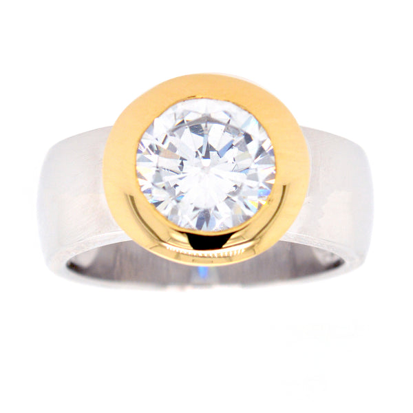 R6421-GP - Two tone cz ring