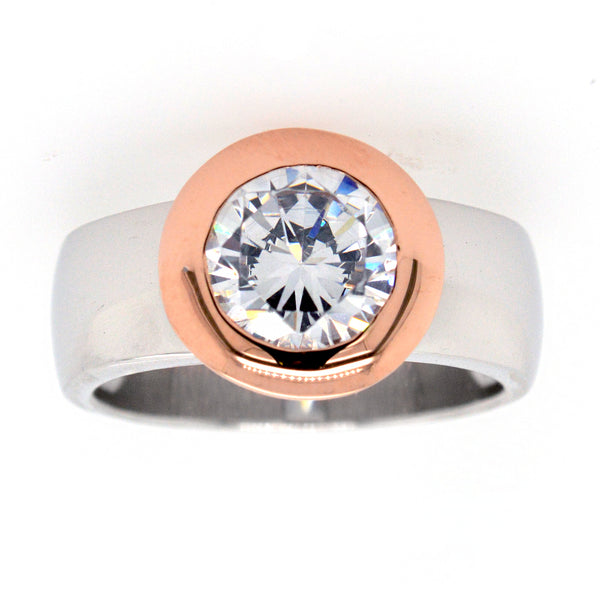 R6421-RG -  Two tone cz ring