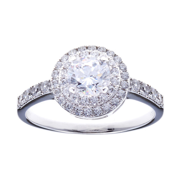 925 sterling silver, rhodium plate round cubic zirconia dress ring - R6435