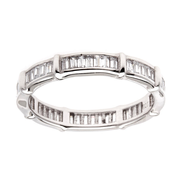 Sterling silver, rhodium plate princess cut cubic zirconia eternity band - R65501