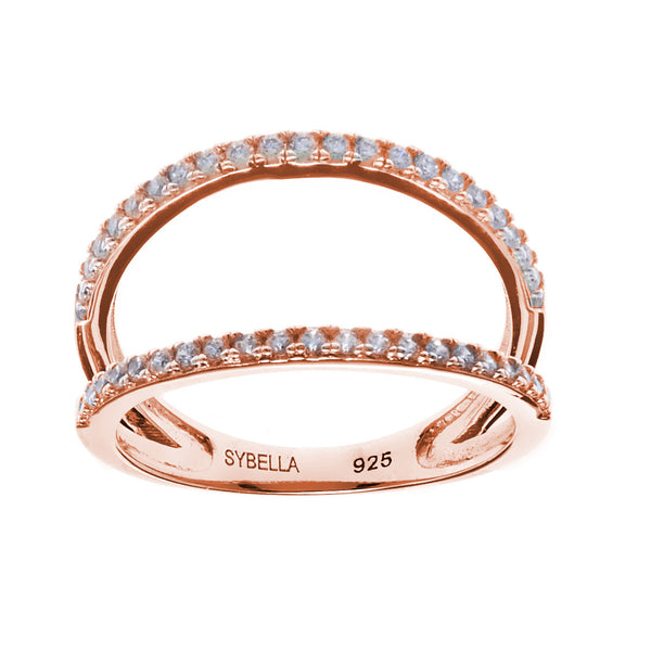 Rose gold plate cubic zirconia open double band ring - R6930-RG