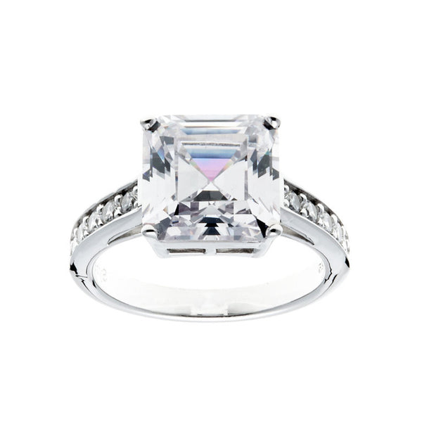 Sterling Silver, Rhodium Plate Princess Cut Cubic Zirconia Ring - R72164