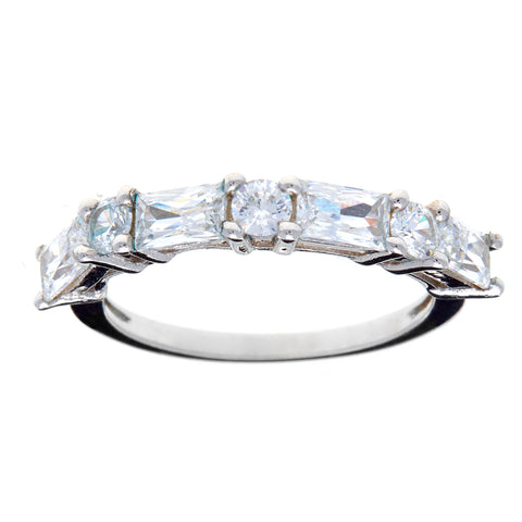 R7380-Rhodium baguette cz band ring