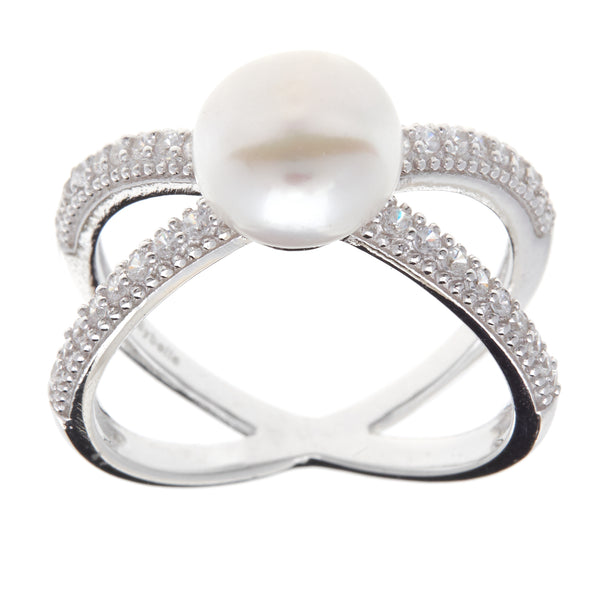 R7381-Rhodium cz cross over & pearl ring