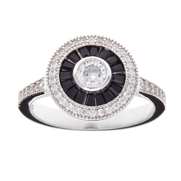 R7485 - Black & clear cz round dress ring