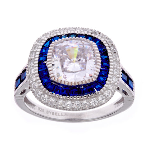Rhodium, sapphire & clear cubic zirconia dress ring- R8717