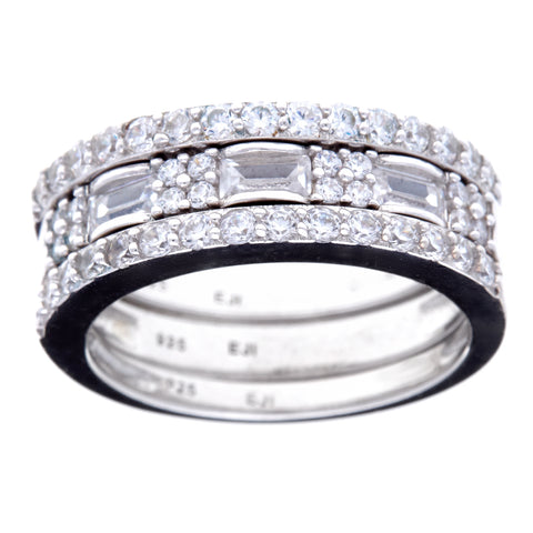 R9015-Tri rhodium cz ring stack