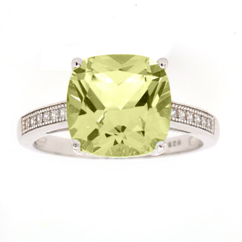 R7486-L - Square lemon quartz & cz ring