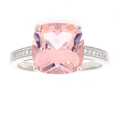 R7486-M - Square morganite cz ring