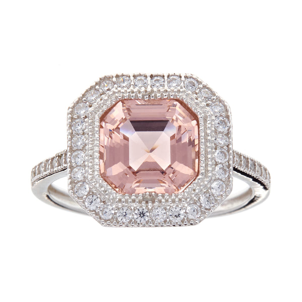 R9314-M - Rhodium square morganite & cz ring