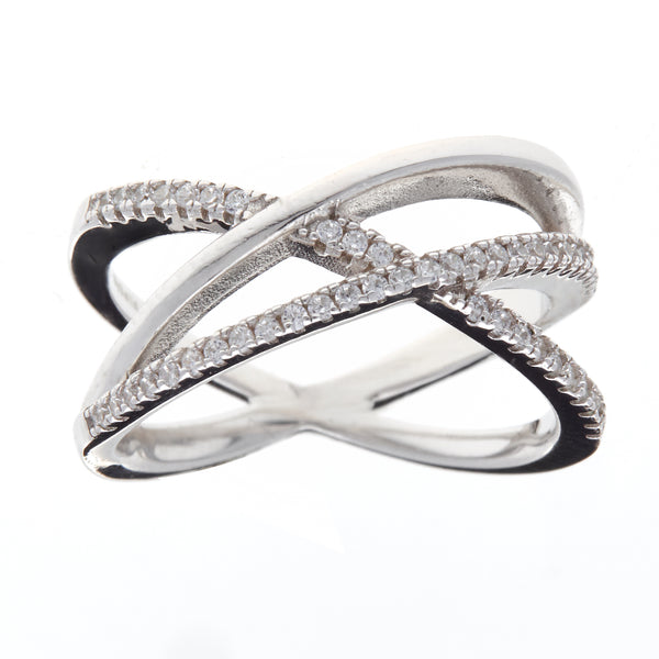 R9353-Rhodium cz criss cross ring