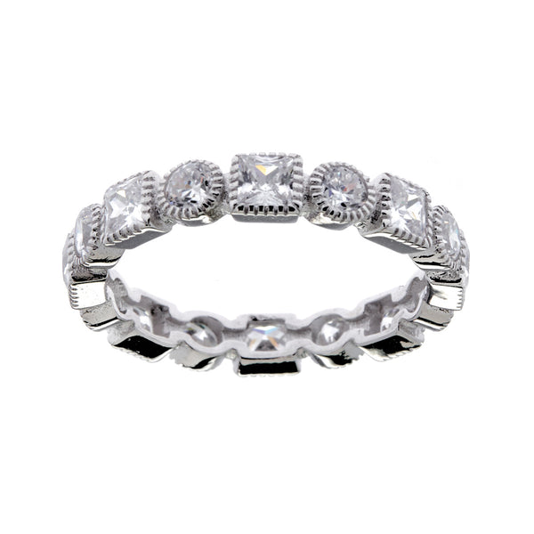Rhodium micro pave thin cubic zirconia ring- R9619
