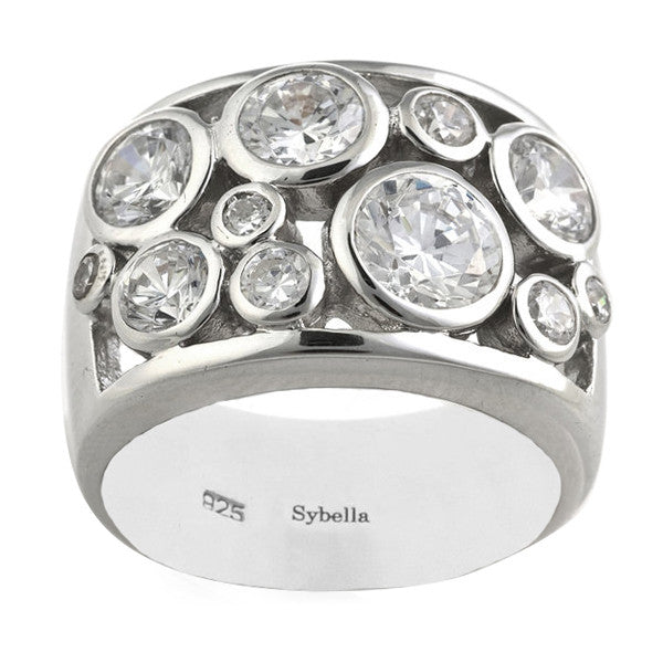 Rhodium Bezel Set Dress Ring - R97