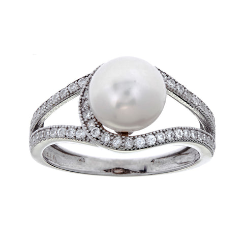 Rhodium micro pave, cubic zirconia & freshwater pearl ring- R9837