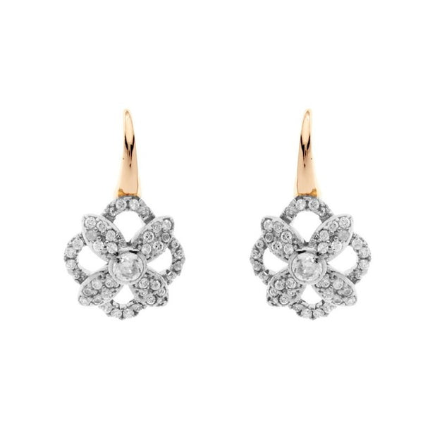 2 tone yellow gold & rhodium cz flower earrings - E2055-YG