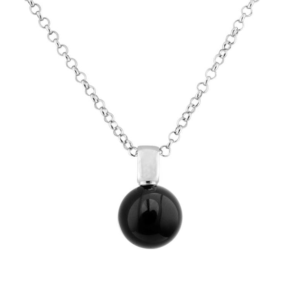 14mm black agate pendant with plain 925 sterling silver, rhodium plated bale - P1118