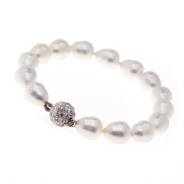 White baroque pearl bracelet with silver cz ball clasp - B701-SBAR
