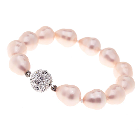 12 X 15mm pink baroque pearl bracelet with silver cubic zirconia ball clasp - B711BAR