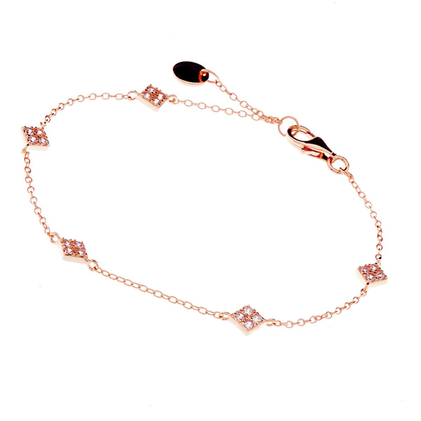 B21-RG - Hanging diamonds rose gold bracelet