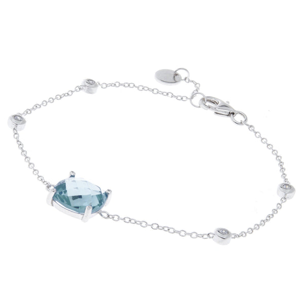 Rhodium clear and topaz cubic zirconia bracelet - B783