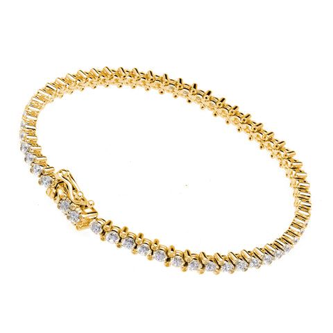 B9453-GP - Gold 4-prong 3mm cz tennis bracelet