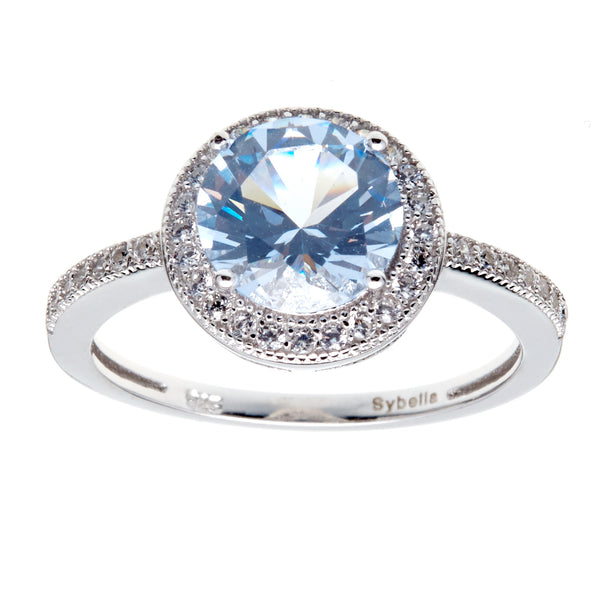 R9993 - Round blue & clear cz ring