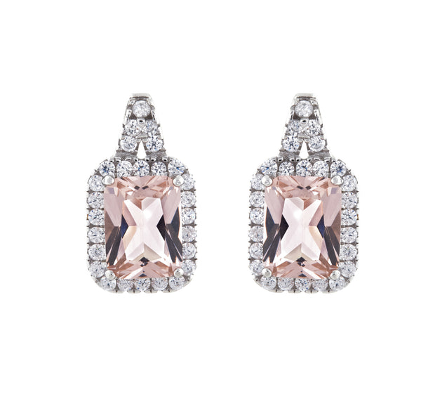 Rhodium, rectangle morganite cz earrings - E2021-P