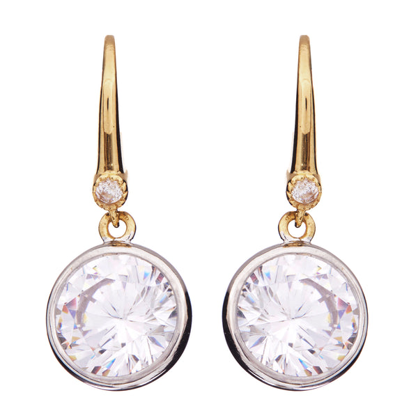 Gold bezel cubic zirconia on hook earrings - E63-GP