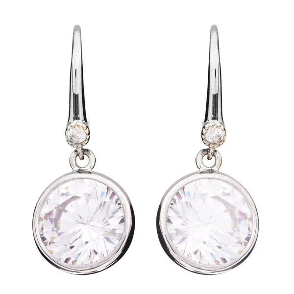 Rhodium bezel cubic zirconia on hook earrings - E63-RH