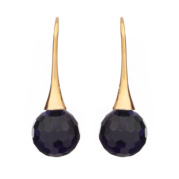 Gold plate facetted sapphire ball earrings on long hook - E65-SGP