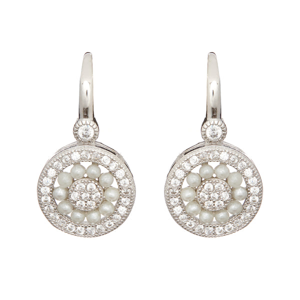 Rhodium antique pearl and cubic zirconia hook earrings - E7664
