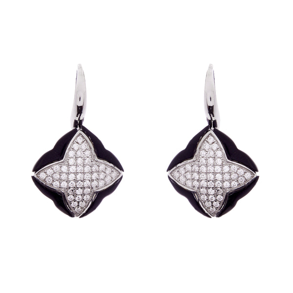 Black agate & clear cz pave star earrings on french hook - E86