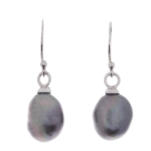 Freshwater baroque black pearl earrings on rhodium french hook - E929-B