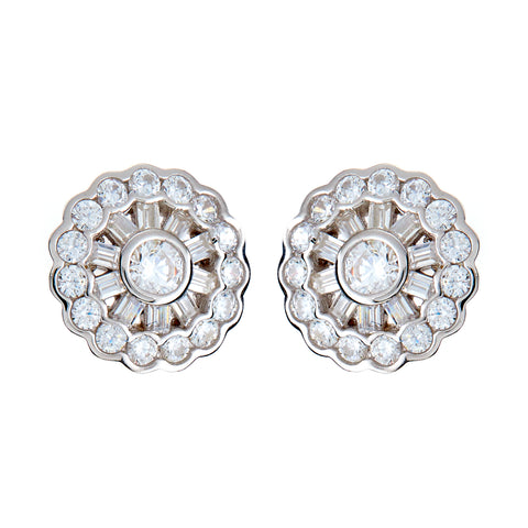 E10392 - Rhodium cz earrings