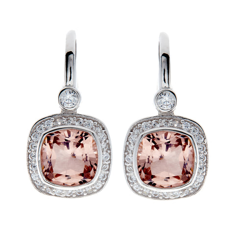 E7540 - Morganite & cz square earrings on Sybella hook