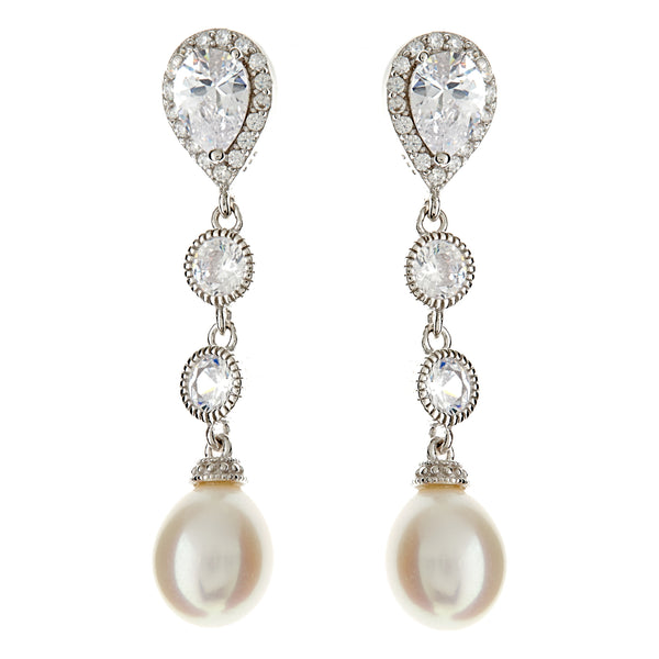 E8653 - Freshwater pearl & cz stud drop earrings