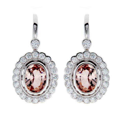 E7665-MRH - Rhodium oval & cz morganite earrings