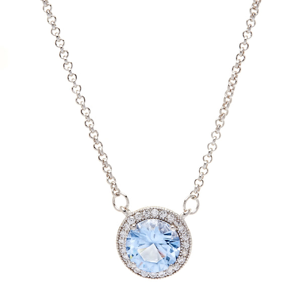 P9423 - Rhodium blue topaz & cz necklace