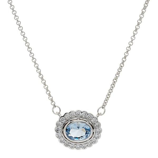 P942-B - Oval blue & clear cz pendant on fine chain