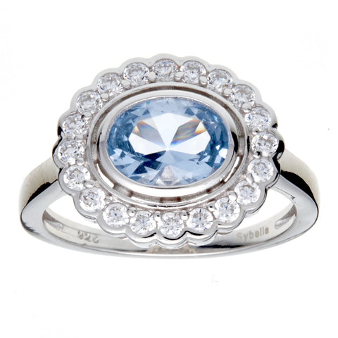 R755-B - Oval blue & clear cz ring