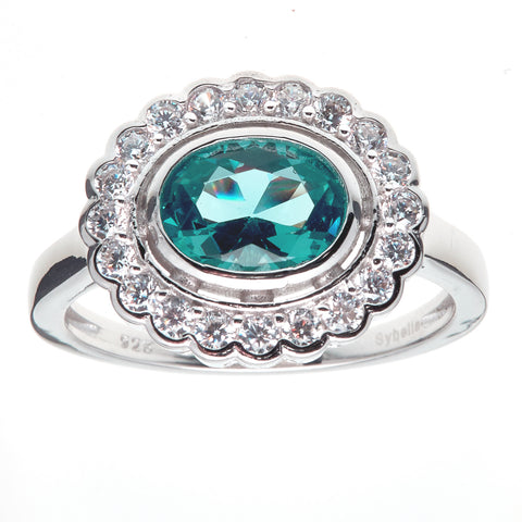 R755-G - Oval green & clear cz ring